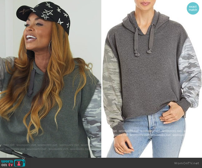 Camo Sleeve Cropped Hoodie by Vintage Havana worn by Gizelle Bryant  on The Real Housewives of Potomac