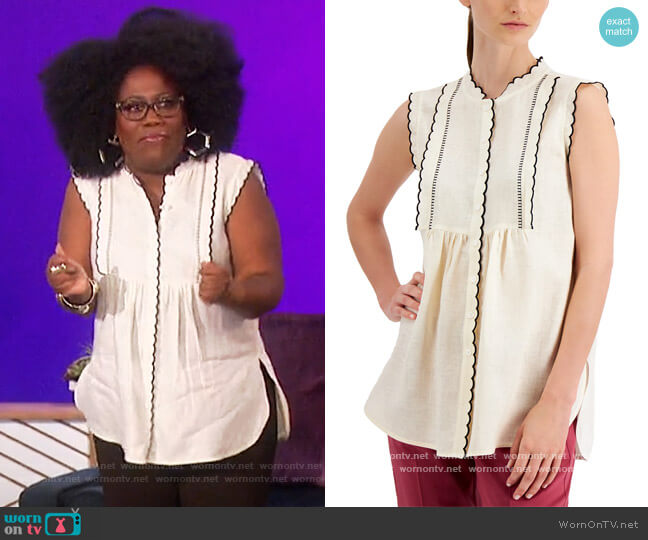 Ferito Scalloped Shirt by Weekend Max Mara worn by Sheryl Underwood  on The Talk