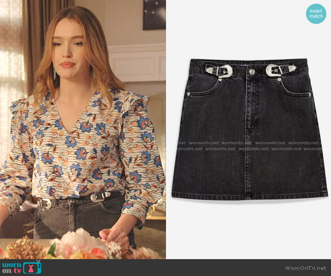 Western Buckle Denim Skirt by Topshop  worn by Kirby Anders (Maddison Brown) on Dynasty