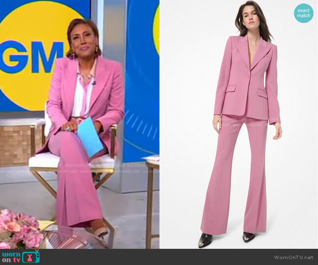 Wool Peak-Lapel Blazer and Flared Pants by Michael Kors worn by Robin Roberts  on Good Morning America