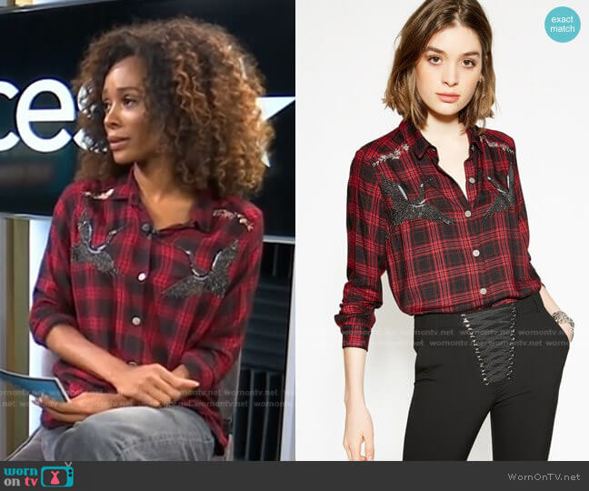 Woven Checked shirt with Embroidered Storks by The Kooples worn by Zuri Hall  on Access Hollywood