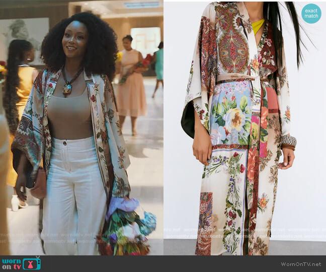 Patchwork Printed Kimono by Zara worn by Angela Vaughn (Yaya DaCosta) on Our Kind of People