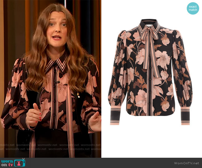 Concert Peonies Shirt by Zimmermann worn by Drew Barrymore  on The Drew Barrymore Show