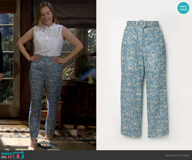 Zimmermann Carnaby Belted Crop Flare Pants worn by Hope Logan (Annika Noelle) on The Bold & the Beautiful