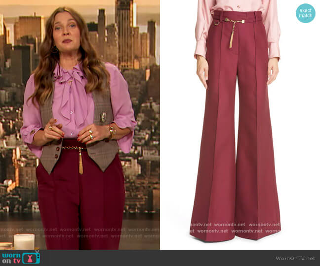 Concert chain-embellished wool-blend flared pants by Zimmermann worn by Drew Barrymore  on The Drew Barrymore Show