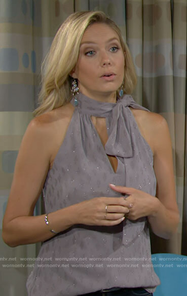 Abby's grey bow neck top on The Young and the Restless