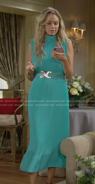 Abby's aqua blue sleeveless midi dress on The Young and the Restless
