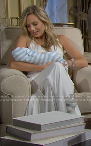 Abby's white jumpsuit with overlay on The Young and the Restless