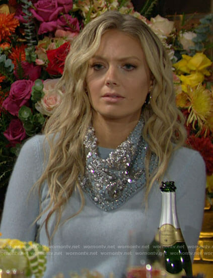 Abby's blue embellished bandana on The Young and the Restless