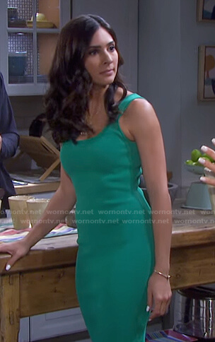 Gabi's green ribbed tank dress on Days of our Lives