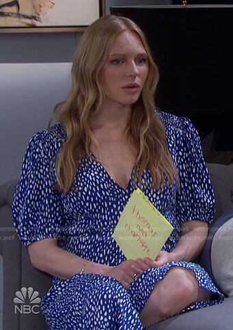 Abigail's blue spotted wrap dress on Days of our Lives