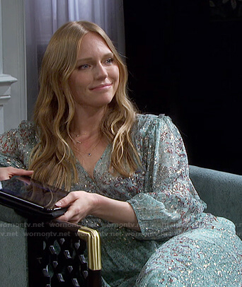 Abigail's mint green metallic floral wrap dress on Days of our Lives