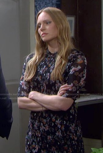 Abigail's black floral print midi dress on Days of our Lives