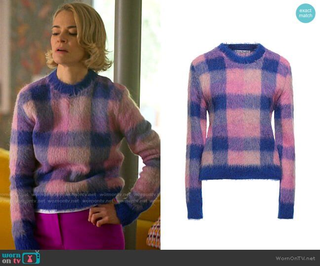 Acne Studios Checked Sweater worn by Alice Pieszecki (Leisha Hailey) on The L Word Generation Q
