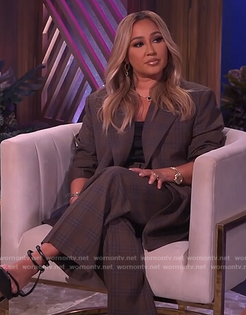 Adrienne's brown plaid blazer and pants on The Real