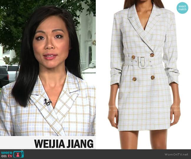 Adelyn Rae Windowpane Check Blazer Minidress worn by Weijia Jiang  on CBS Mornings
