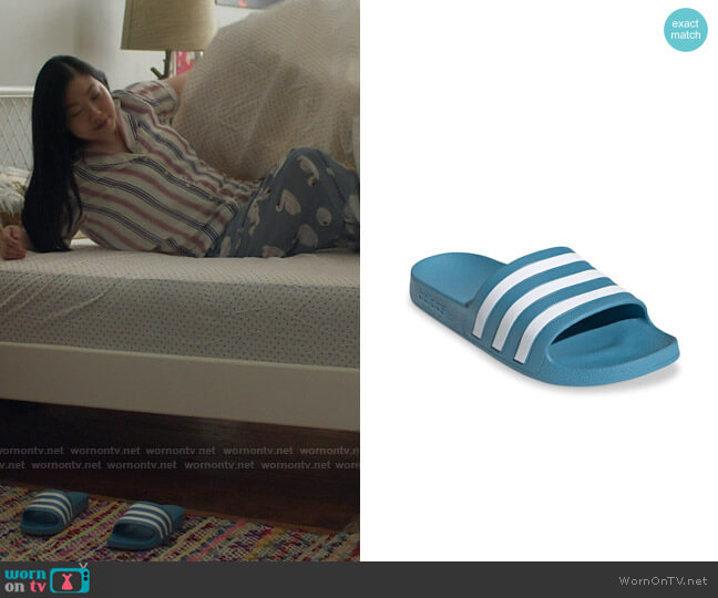 Adidas Blue Adilette Slides worn by Nora Lum (Awkwafina) on Awkwafina is Nora From Queens