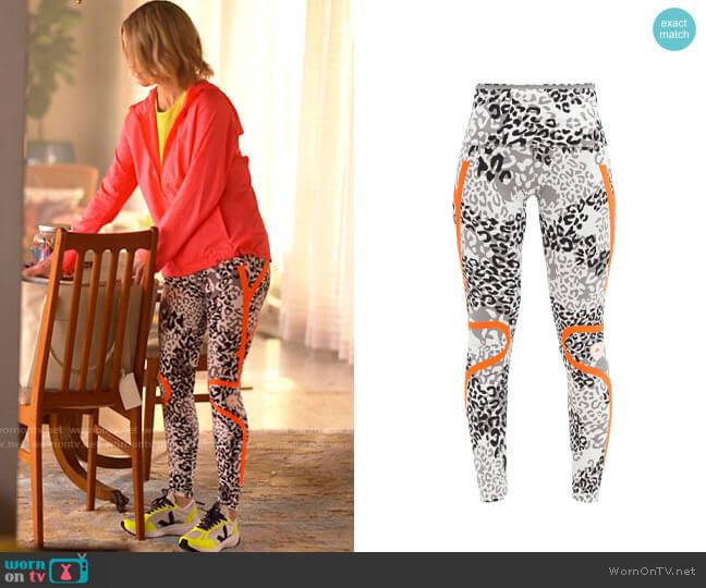 Adiads by Stella McCartney TruePace high-rise leopard-print leggings worn by Alice Pieszecki (Leisha Hailey) on The L Word Generation Q