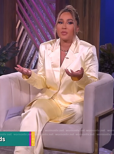 Adrienne's yellow satin blazer and pants on The Real