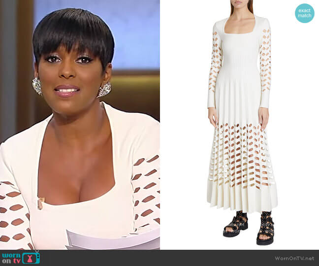 Square-Neck Laser-Cut Pleated Maxi Dress by Alaia worn by Tamron Hall  on Tamron Hall Show