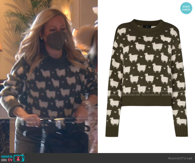 Brushed Sheep Crewneck Jumper by Alanui worn by Sutton Stracke  on The Real Housewives of Beverly Hills
