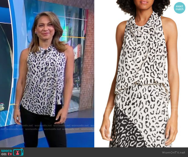 Ella Leopard Print Silk Top by A.L.C. worn by Ginger Zee  on Good Morning America