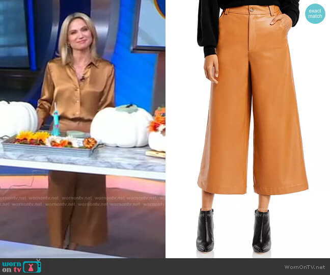 Wiles Wide Leg Faux Leather Gaucho Pants by A.L.C. worn by Amy Robach  on Good Morning America