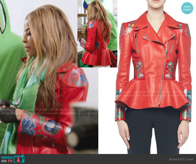 Flower-Print Leather Moto Jacket by Alexander McQueen worn by Mary Cosby  on The Real Housewives of Salt Lake City