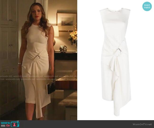 Buckle-Detail Drape-Front Dress by Alexander Mcqueen worn by Fallon Carrington (Elizabeth Gillies) on Dynasty