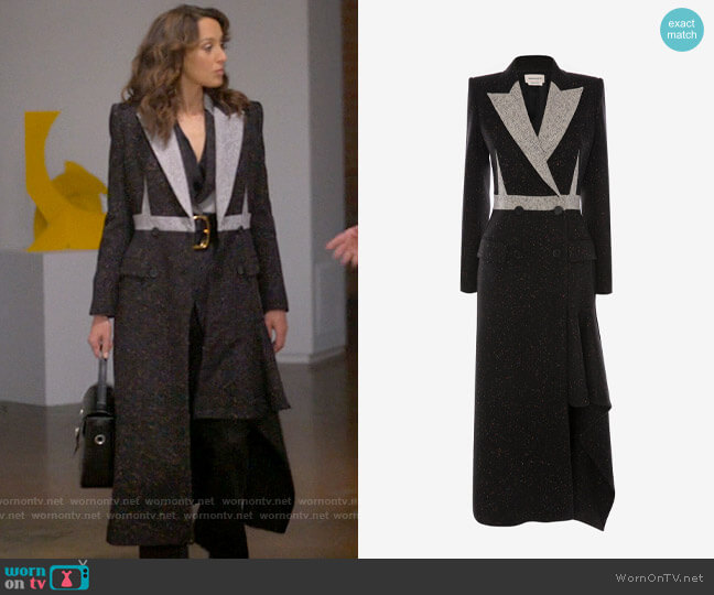 Alexander McQueen Double Breasted Donegal Coat worn by Bette Porter (Jennifer Beals) on The L Word Generation Q