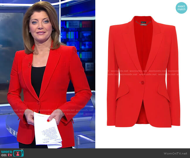 Single-Breasted Crepe Blazer by Alexander McQueen worn by Norah O'Donnell  on CBS Evening News