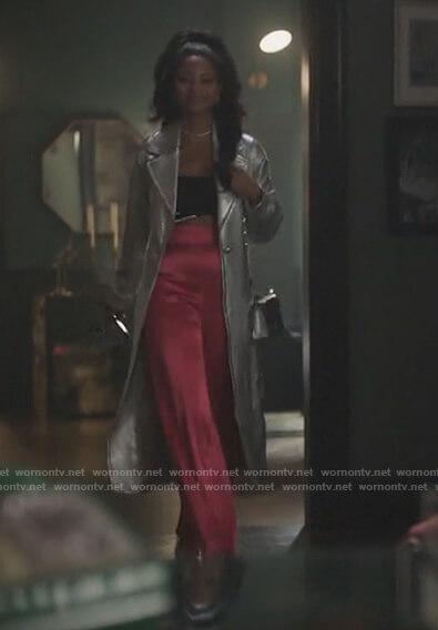 Alexandra's silver metallic trench coat on Riverdale