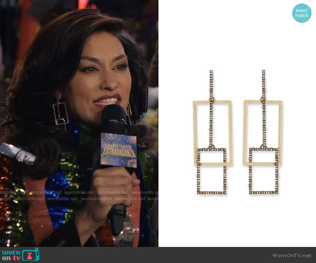 Alexis Bittar Crystal Encrusted Brutalist Link Post Earrings worn by Alison Namazi (Janina Gavankar) on The Morning Show