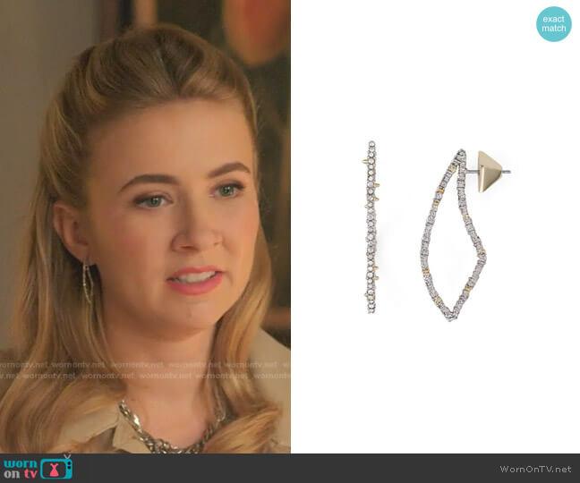 Pave Crystal-Encrusted Thorn Drop Earrings by Alexis Bittar worn by Amanda Carrington (Eliza Bennett) on Dynasty