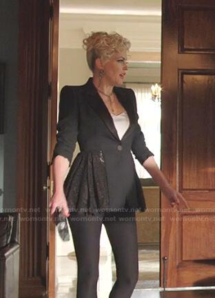 Alexis's black lace-peplum blazer on Dynasty