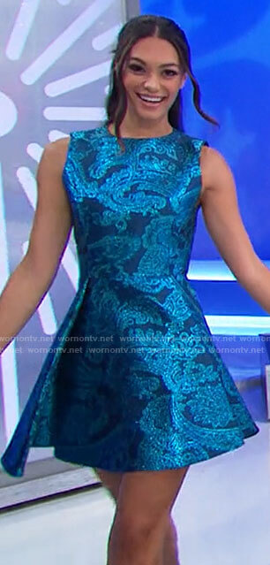 Alexis's blue paisley jacquard dress on The Price is Right