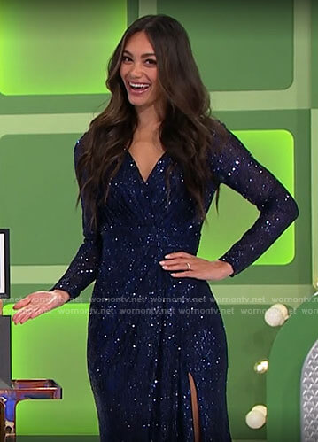 Alexis's blue sequin dress on The Price is Right