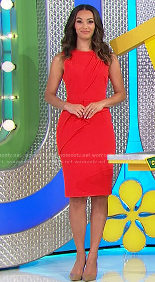 Alexis's red draped front sheath dress on The Price is Right