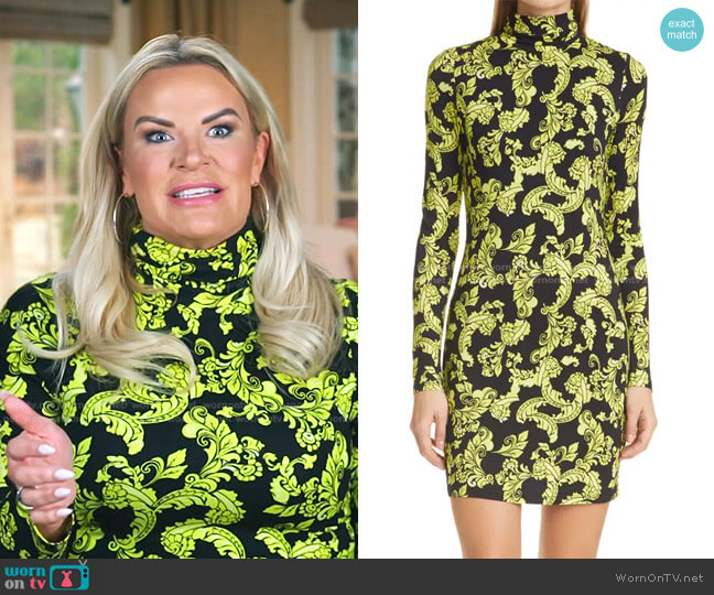 Delora Scrollwork Print Dress by Alice + Olivia worn by Heather Gay  on The Real Housewives of Salt Lake City