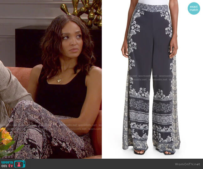 Athena Floral Wide Leg Pants by Alice + Olivia worn by Lani Price (Sal Stowers) on Days of our Lives