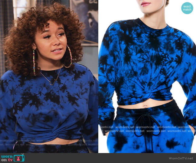 Marcelle Drop-Shoulder Twist-Front Top by Alice + Olivia worn by Jade (Talia Jackson) on Family Reunion