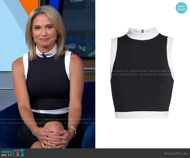 Mory Sleeveless Crop Top by Alice + Olivia worn by Amy Robach  on Good Morning America