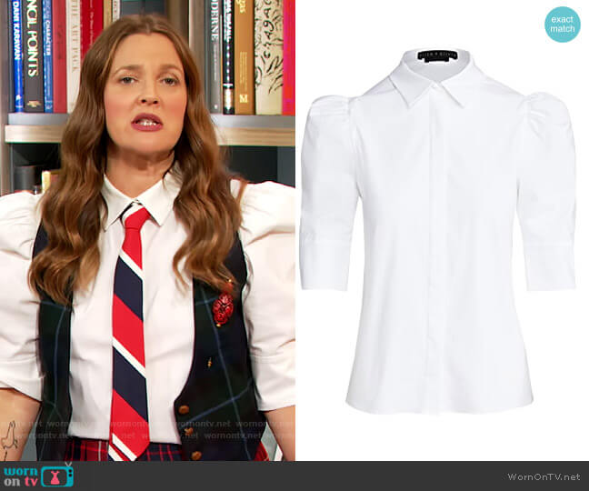 Willa Scrunched Puff Sleeve Top by Alice + Olivia worn by Drew Barrymore  on The Drew Barrymore Show