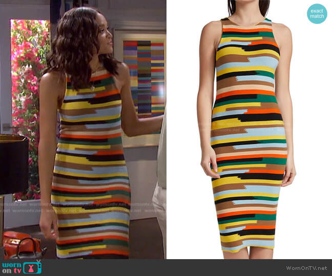 Jenner Striped Knit Dress by Alice + Olivia worn by Lani Price (Sal Stowers) on Days of our Lives