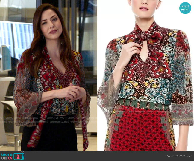 Alice + Olivia Elaina Top worn by Andrea Rojas (Julie Gonzalo) on Supergirl