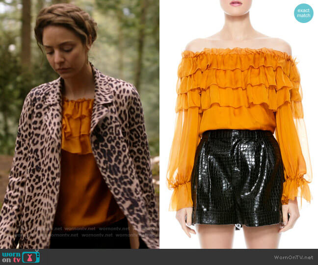Alice + Olivia Ersa Ruffle Tiered Silk Blouse worn by Zari Tomaz (Tala Ashe) on Legends of Tomorrow