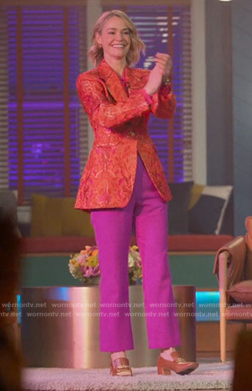 Alice's orange floral blazer and pink blouse on The L Word Generation Q