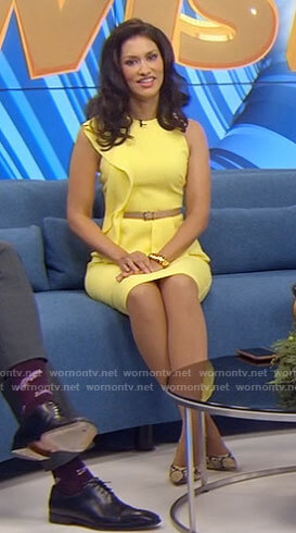 Alison's yellow side ruffle dress on The Morning Show