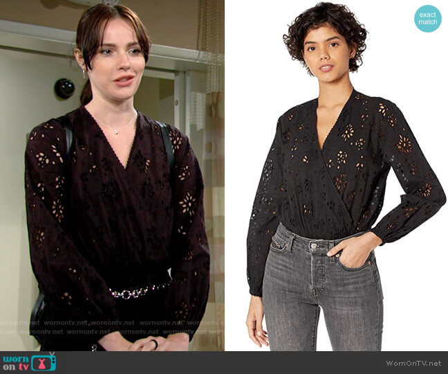 All Saints Amara Broderie Bodysuit worn by Tessa Porter (Cait Fairbanks) on The Young & the Restless