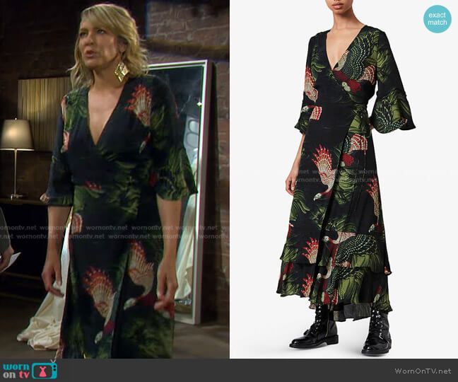 Delana Wrap-Front Maxi Dress by All Saints worn by Nicole Walker (Arianne Zucker) on Days of our Lives